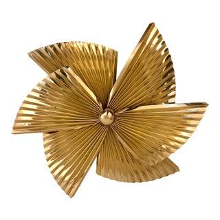 Curtis Jere Brass Pinwheel Wall Sculpture For Sale