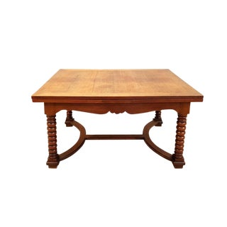 Belgian 1900s Solid Extending Barley Twist H-Stretcher Oak Dining Table For Sale