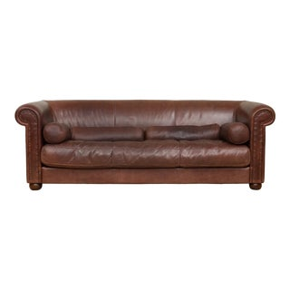 Mid-Century Baxter Buffalo Leather Italian Sofa For Sale