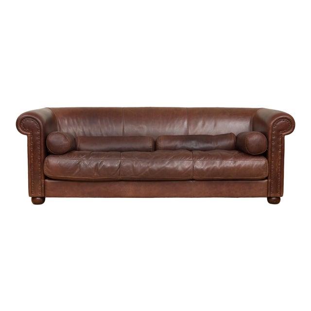 Mid-Century Baxter Buffalo Leather Italian Sofa For Sale