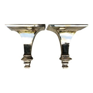 Neoclassical Solid Brass Shelves - a Pair For Sale