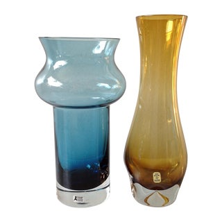Scandinavian Blue And Amber Glass Vases - Pair For Sale