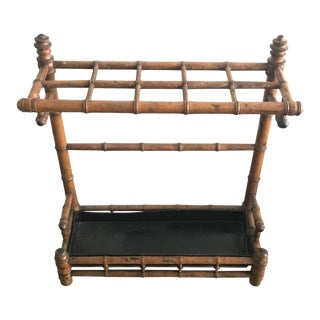 20th Century Chinoiserie Bamboo Umbrella Stand For Sale