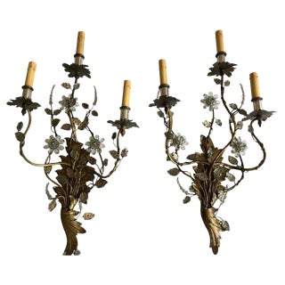 Pair of French Crystal and Brass Floral Wall Sconces, Possibly Mason Baguès For Sale
