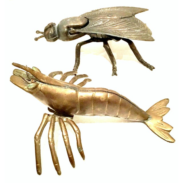 Mid-20th century Art Nouveau pair of iron and brass figural fly and Shrimp Sculptures. The Fly box made of cast iron...