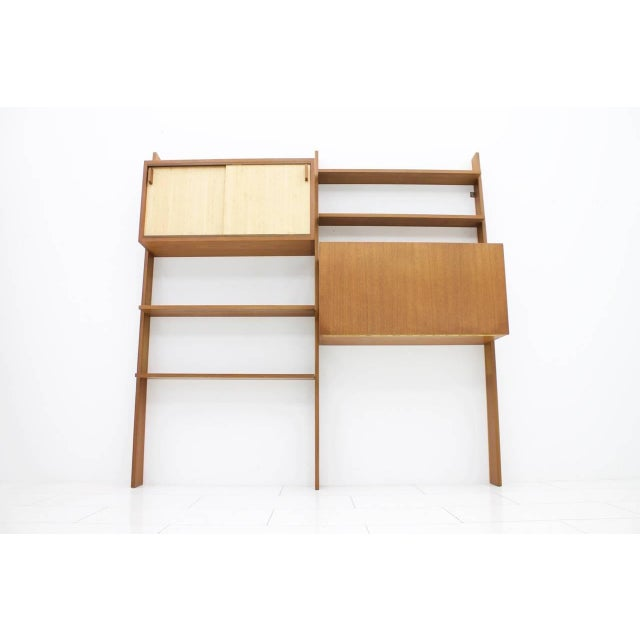 Behr Dieter Waeckerlin Teak Shelf With Seagrass Sliding Doors With a Bar or Desk, 1950s For Sale - Image 4 of 10