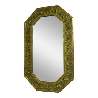 Antique Repousse Shell Brass Beveled Wall Mirror
