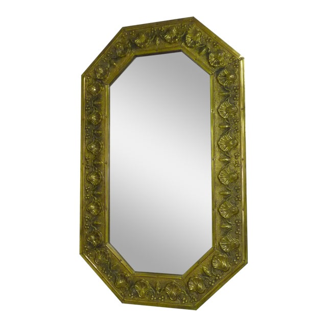 Antique Repousse Shell Brass Beveled Wall Mirror For Sale