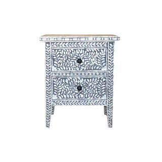 Boho Chic Moroccan Inspired Grey Mother of Pearl Side Table For Sale