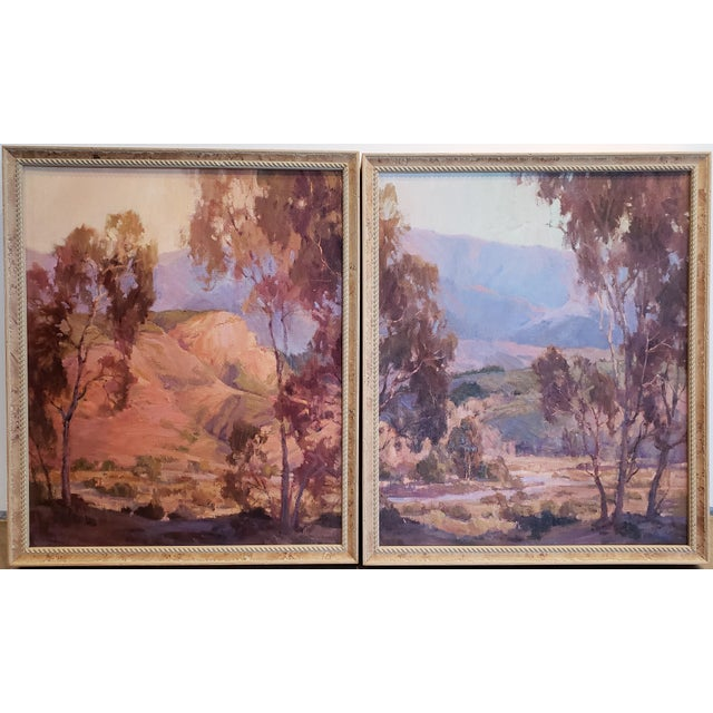 "Purple Anita Hampton ""Sunrise"" and ""In Early Spring"" Landscape Paintings - a Pair For Sale - Image 8 of 8"
