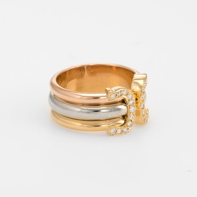 Modern Vintage Cartier Double C Diamond Ring 18 Karat Gold 1997 Estate Jewelry Band For Sale - Image 3 of 8