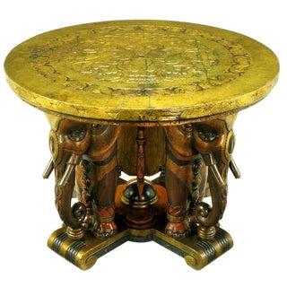 Extraordinary 1920s Polychrome Parcel Gilt Elephant Center Table For Sale