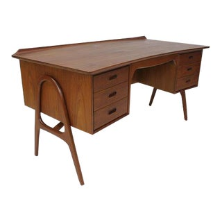 Danish Modern Curved Front Desk by Svend Madsen For Sale
