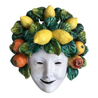 Italian Pottery Bacchus Majolica Ceramic Mask