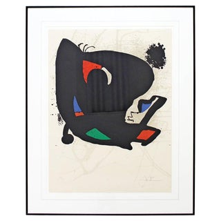 Mid-Century Modern Joan Miro Framed Signed Abstract Lithograph 1970s Red 42/150 For Sale