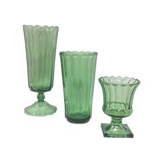 Mid-Century Olive Green Glass Vases - Set of 3 For Sale
