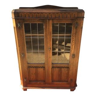 Mid-Century Carved Oak Leaded Glass Bookcase