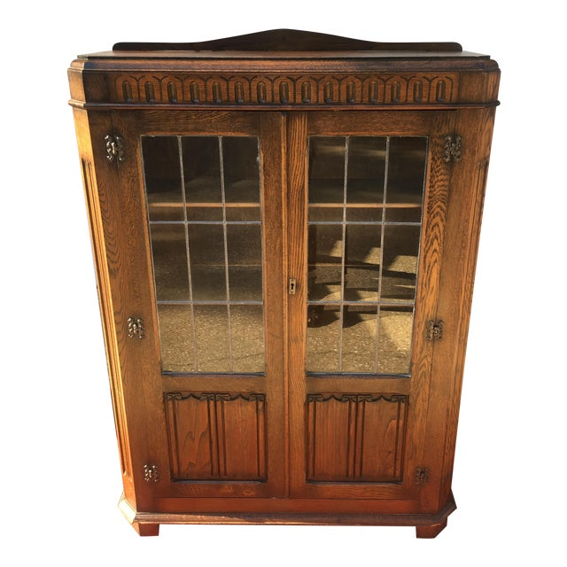 Mid-Century Carved Oak Leaded Glass Bookcase For Sale