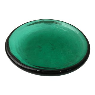 Emerald Green Handblown Catchall Dish For Sale