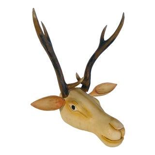Deer Antler Carved Wood Wall Hanging For Sale