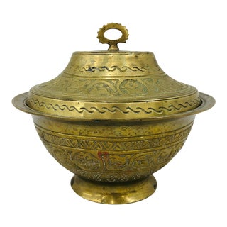 Antique Indian Covered Brass Bowl For Sale