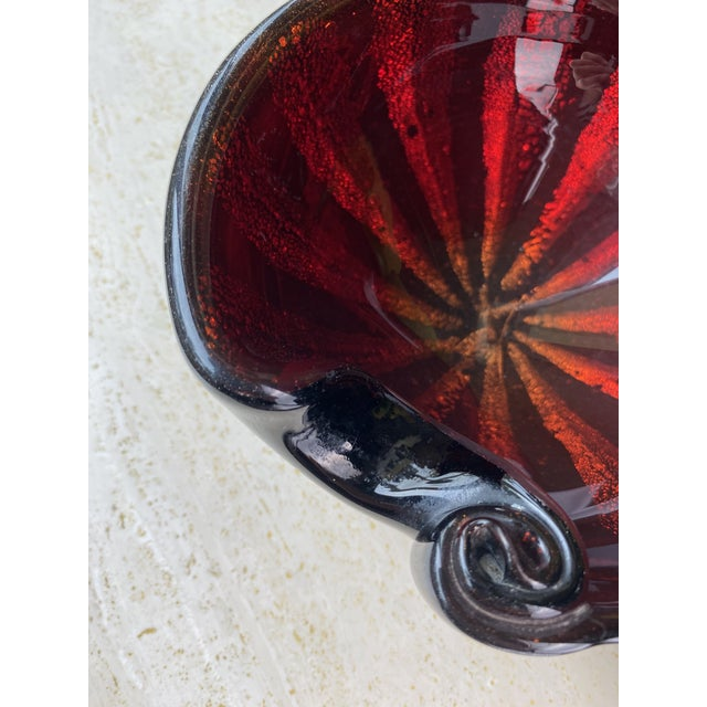 Mid-Century Alfredo Barbini Murano Art Glass Red Circus Tent Bowl For Sale In San Diego - Image 6 of 11