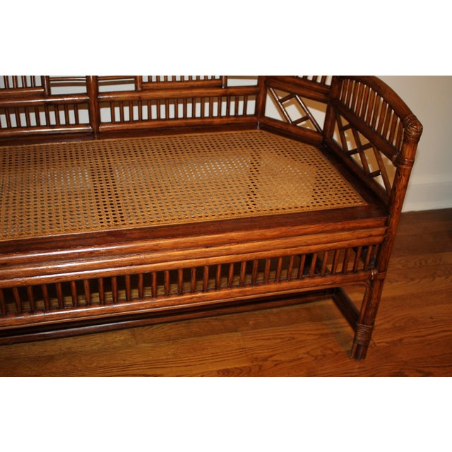 Vintage Mid Century Bamboo Rattan Pavilion Brighton Chinoiserie Chippendale Settee For Sale - Image 11 of 13