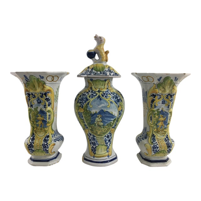 French Faience Garniture Set From Neuers Region - Set of 3 For Sale