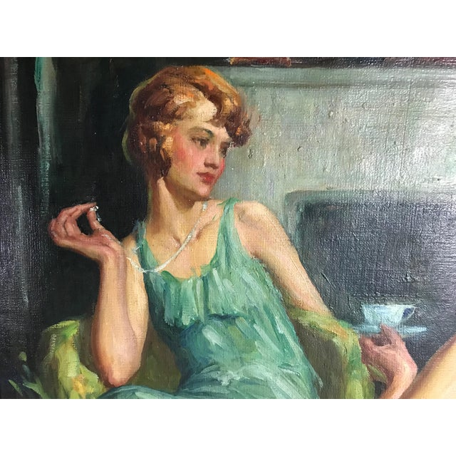 """Art Deco Large 1920s """"Young Ladies Having Tea"""" Portrait Oil Painting by John Holiver For Sale - Image 3 of 6"""