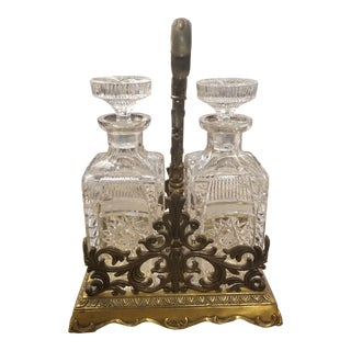 Double Crystal Decanters With Brass Tantulus For Sale