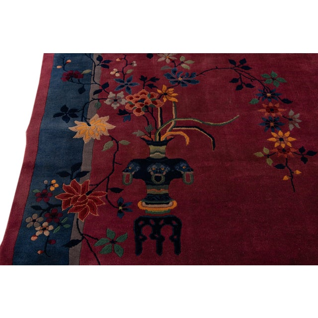 Early 20th Century Antique Art Deco Chinese Wool Rug For Sale - Image 4 of 13