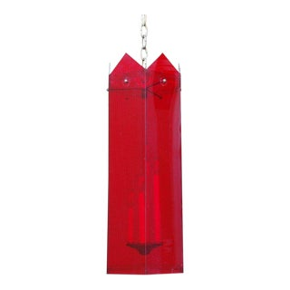 1970s Red Lucite Hexagonal Lantern For Sale