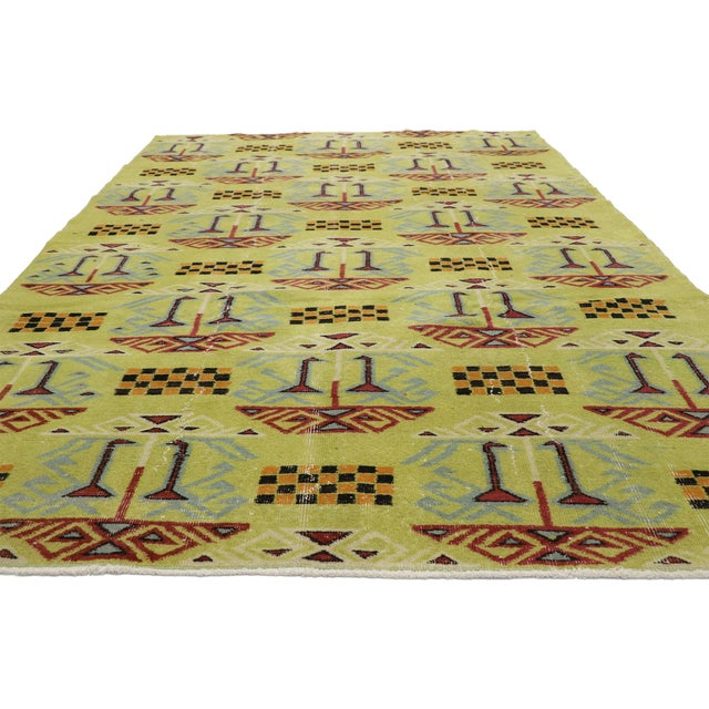 Art Deco Vintage Zeki Muren Distressed Turkish Sivas Rug - 6′4″ × 9′5″ For Sale - Image 3 of 10