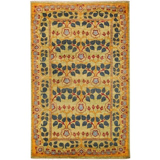"Arts & Crafts Hand Knotted Area Rug - 4'10"" X 8'4"" For Sale"