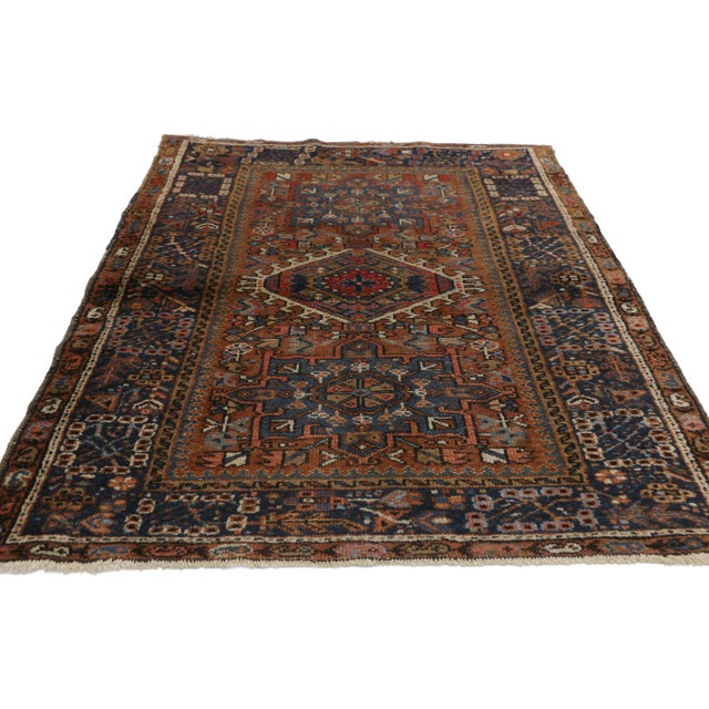 Antique Persian Karaja Heriz Rug With Mid-Century Modern Style, 3'6x4'6 For Sale - Image 4 of 9