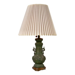 Antique Moroccan Jar Table Lamp With Vintage Shade For Sale
