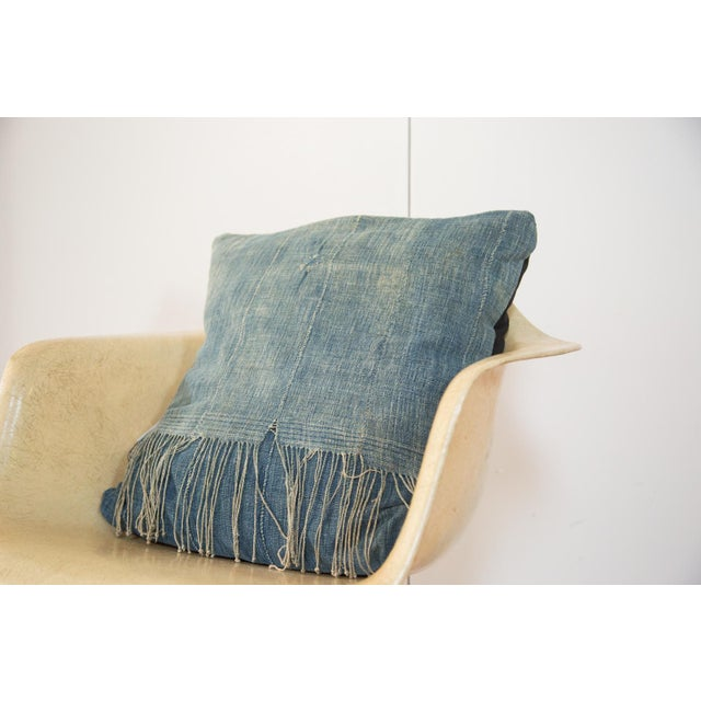Old New House Original and exclusive handmade 20x20 throw pillow featuring reclaimed vintage African Indigo textile....