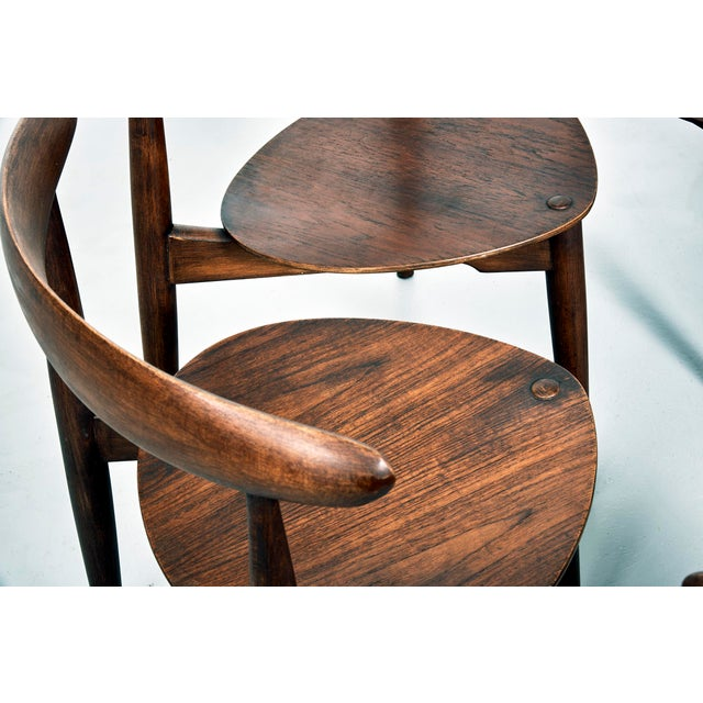 Hans Wegner for Fritz Hansen Heart Dining Set With 6 Chairs, Circa 1950's For Sale In Detroit - Image 6 of 7