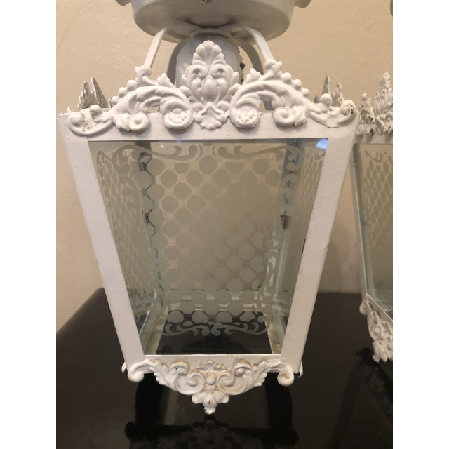 1940s Vintage White Metal Outdoor Lights With Etched Glass Panels - a Pair For Sale - Image 5 of 10