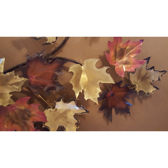 Art Deco 1970s Mid-Century Modern Copper and Brass Metal Welded Leaf Wall Art For Sale - Image 3 of 6