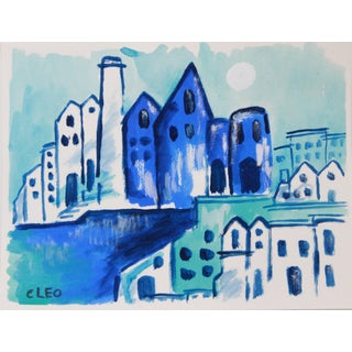 Abstract Blue Mediterranean Cityscapr Painting by Cleo For Sale