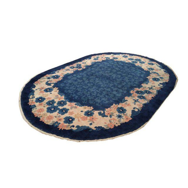 Art Deco Antique Chinese Art Deco Handmade Knotted Oval Rug - 6x9 For Sale - Image 3 of 3