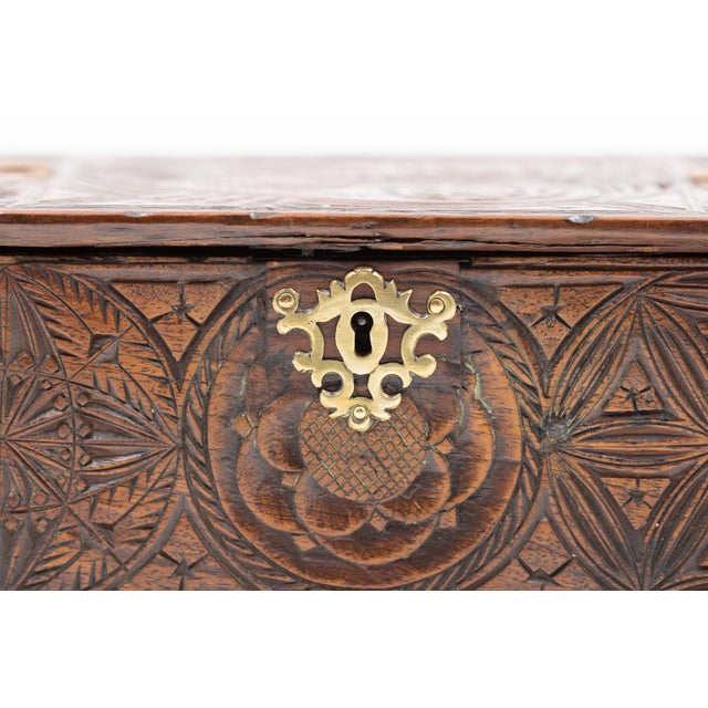 A 17th Century Carved Oak Box With Side Drawer Dated 1655. For Sale - Image 12 of 13