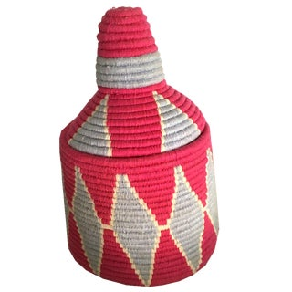 Vintage Moroccan Woven Basket For Sale