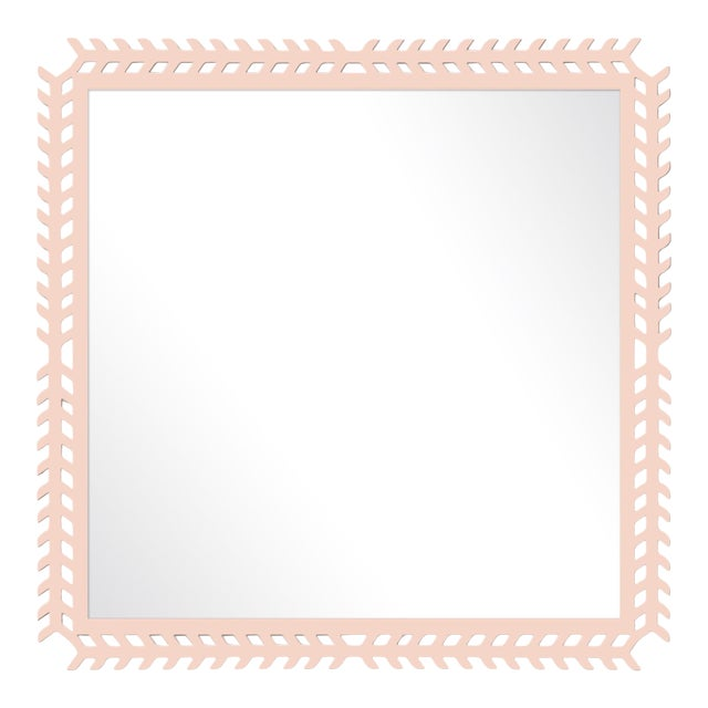 Fleur Home x Chairish Toulouse Trellis Mirror in Pink Ground, 24x24 For Sale