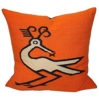 Wild Mexican Road Runner Weaving Pillow For Sale