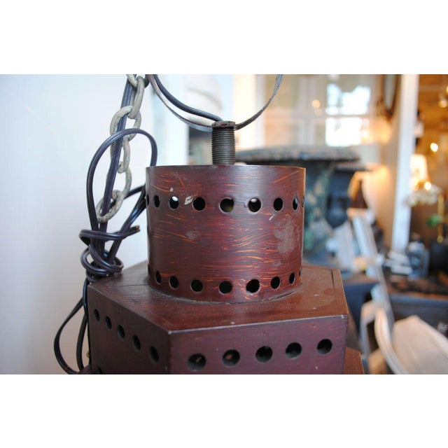 Glass Red Wooden Lanterns - A Pair For Sale - Image 7 of 11