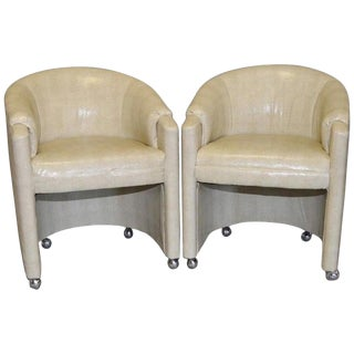 Pair of 1970s Faux Snakeskin Rolling Club Chairs For Sale