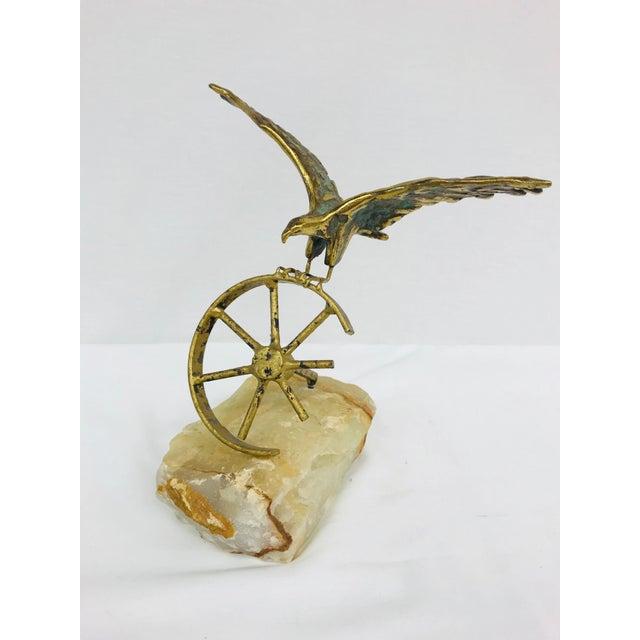 Brass Eagle on Wheel Quartz Statuette For Sale - Image 12 of 12