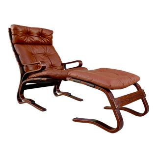 Mid Century Danish Modern Elsa & Nordahl Solheim Leather Rosewood Lounge Chair & Ottoman For Sale